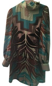 Tibi Print Long-sleeve V-neck Dress