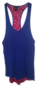 Miss Chievous Casual Boho Racer-back Lace Top Blue and red