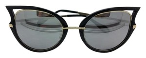 Kiss KISS GLOSSY BLACK AND GOLD HAND POLISHED FRAMES CATEYE SUNGLASSES MIRROR LENS