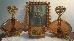Ornate Floral Antique Gold Tone Filigree Glass Perfume Vanity Set