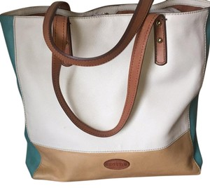 Fossil Tote in Cream, turqoise, tan