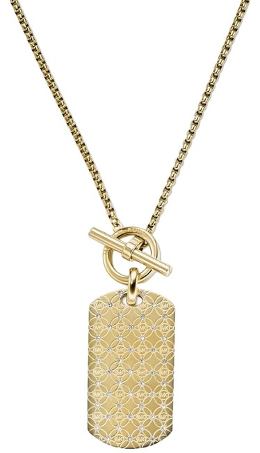 Item - Yellow Gold New Gold-tone Monogram Crystal Dog Tag Chain Mkj4286 Necklace