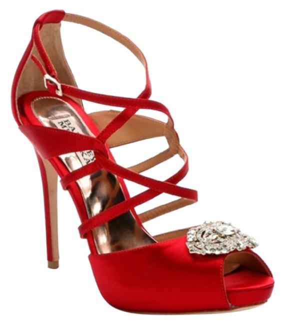 Item - Red and Silver Fisher Satin Pumps Size US 7 Regular (M, B)