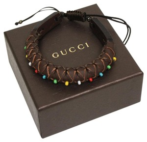Gucci Gucci Rolled Brown Leather Bracelet With Multicolor Beads 373838