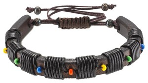Gucci Gucci Brown Leather Bracelet With Multicolor Beads 373836