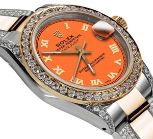 Rolex Women's 31mm Oyster Perpetual Datejust Custom Orange Diamond Roman