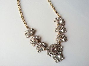J.Crew Light Gold Ox Plating New Crystal Cluster Necklace