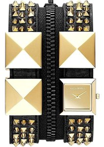 Karl Lagerfeld Karl Lagerfeld Black Leather Double Zipper Studs Bracelet Watch KL2014