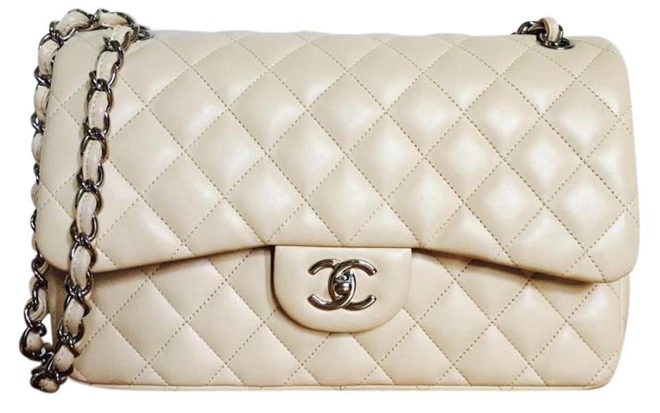 d5333098c7e0 Chanel 2.55 Reissue Classic Flap Quilted Jumbo Classic Double Beige  Lambskin Shoulder Bag