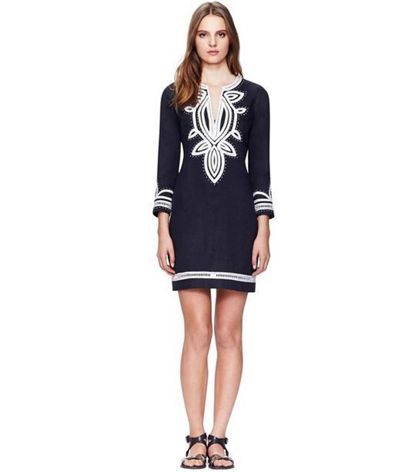 db281865eaf6 Tory Burch Blue Embroidered Odelia Linen Tunic Above Knee Short ...