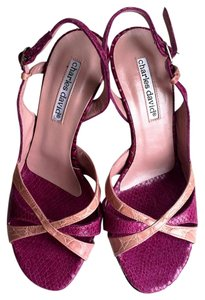 Charles David Slingback Stiletto Open Toe Snakeskin Reptile Pink Sandals