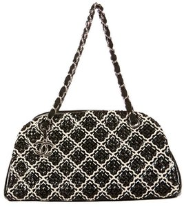 Chanel Just Mademoiselle Bowler Patent Stitch Tote in Black White