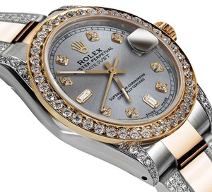 Rolex Women's 31mm Oyster Perpetual Datejust Custom Diamonds Slate Grey Dial