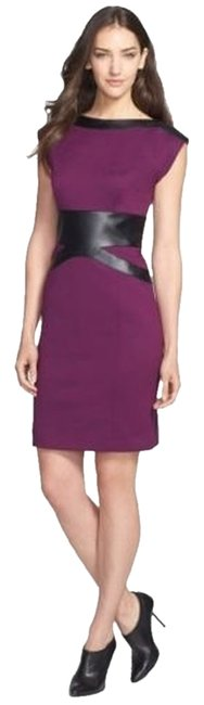 Laundry by Shelli Segal Faux Leather Knit Work Dress