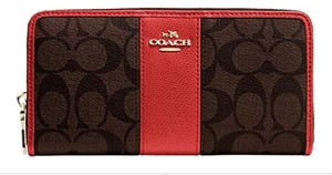 Coach NWT Coach ACCORDION ZIP WALLET IN SIGNATURE CANVAS WITH LEATHER, F52859