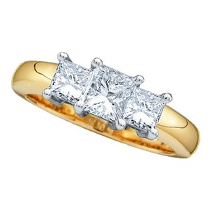 14k Yellow Gold .50 Cttw 3 Stone Princess Cut Diamond Luxury Designer Anniversary Ring