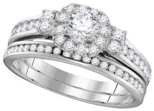 Ladies Luxury Designer 14k White Gold 0.87 Cttw Diamond Engagement Ring Fashion Bridal Set