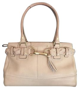 Coach Nude White Braid Satchel in Cream