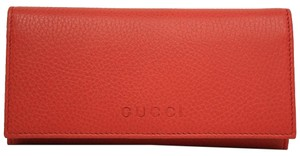 Gucci Gucci Coral Red Leather Continental Flap Wallet 305282