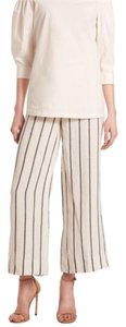Theory Wide Leg Pants Off white and navy stripe