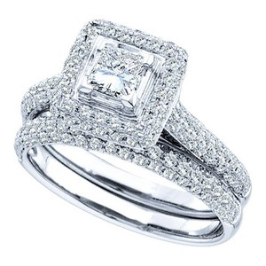 Ladies Luxury Designer 14k White Gold 1.25 Cttw Diamond Engagement Ring Fashion Bridal Set