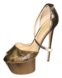 Olcay Gulsen Leather Bronze/Brown snake skin Platforms