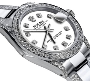 Rolex Women's 31mm s/s Oyster Perpetual Datejust Custom Diamonds White Dial