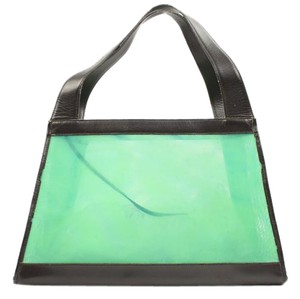 Chanel Satchel Mesh Tote in Green Blue Teal Black