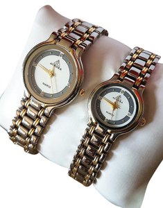 Aurora NEW Watches wirstwatch couple set of 2 his hers Silver&Gold Tone