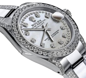 Rolex Women's 31mm s/s Oyster Perpetual Datejust Custom White Diamonds Dial