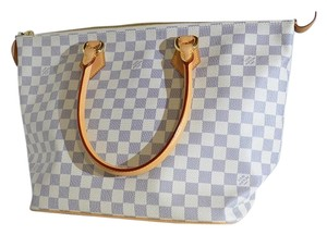 Louis Vuitton Saleya Checks Checker Board Tote in Blue White Azur