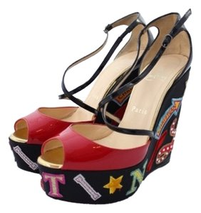 Christian Louboutin Red Bottom Zeppa Limited Edition Loub Loubs 37 37.5 1/2 Swarovski Strass Crystal Bling Multi Wedges