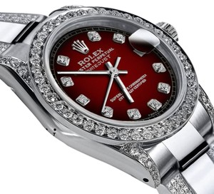 Rolex Women's 31mm s/s Oyster Perpetual Datejust Red Diamonds Dial Accent
