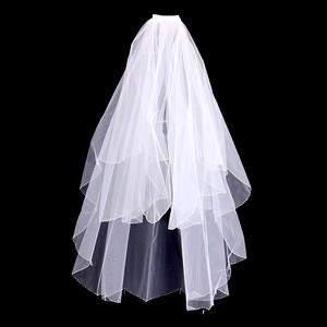 Glass Bead Trim Accent Bridal Veil With Comb
