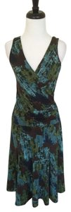 BCBGMAXAZRIA short dress Multicolor Blue Sleeveless Print Green on Tradesy