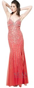 Sean Collection Watermelon Champagne Sean Collection Halter Beaded Dress Dress