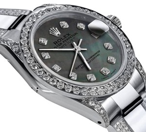Rolex Women's 26mm s/s Oyster Perpetual Datejust Custom Diamonds Dial Green