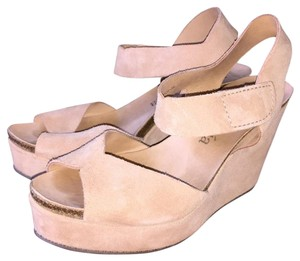 Pedro Garcia Maby Cream Suede Tan Wedges