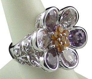 Victoria Wieck Victoria Wieck 6.86ct Amethyst and Citrine Sterling Silver Flower Ring - Size 7