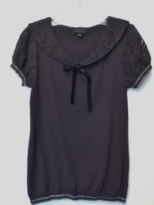Anna Sui Sailor Lace Medium Knit Top Black with Silver