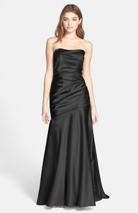Dessy Dessy Collection Black Ruche Strapless Dress Wedding Dress