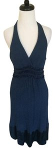 BCBGMAXAZRIA short dress Blue Silk Halter on Tradesy