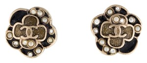 Chanel Camellia Flower Enamel Gold CC Logo Crystal Pearl Stud Filigree Black