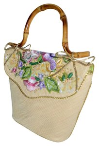 Eric Javits Crewel Work Hand Crafted Embellished Passementerie Satchel in Natural Straw with FLORAL Embellishments