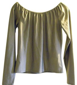 Ralph Lauren Black Label Metallic Shiny Stretchy Fitted Cropped Top Silver