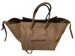 Céline Celine Leather Tote in Beige Taupe