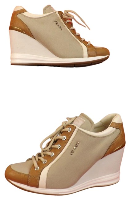 Item - Gray/Beige Canvas Luggage Leather Logo Lettering Lace Up Wedge Sneakers Size US 10.5 Regular (M, B)