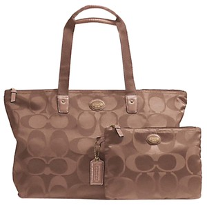 Coach Tote Nylon Signature Packable British Tan Travel Bag 137d9b333e32d