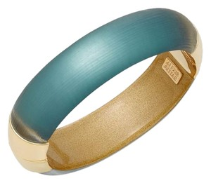 Alexis Bittar New Alexis Bittar Lucite Med Gold Encased Hinged Bangle ~Emerald Green
