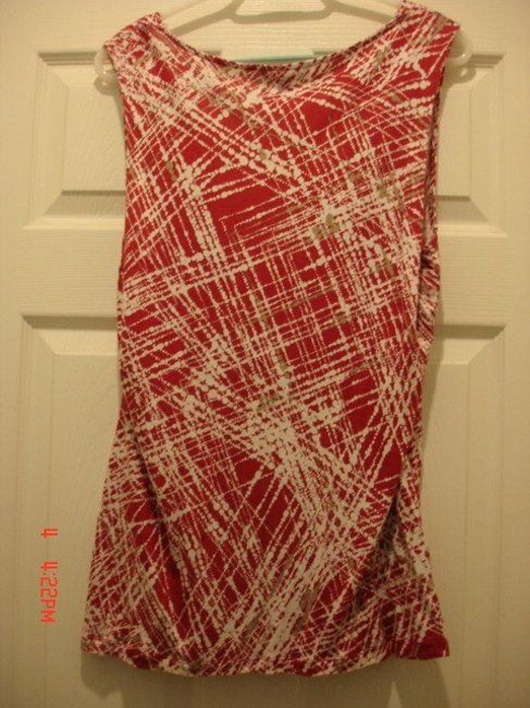 Banana Republic Top RED, WHITE & TAUPE